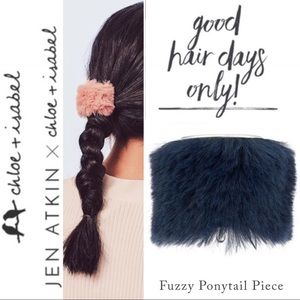 🆕 Fuzzy Ponytail Cover Piece NAVY c+i H090BLNM